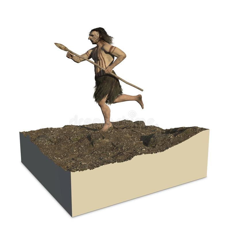 Neanderthaler Homo royalty-vrije illustratie