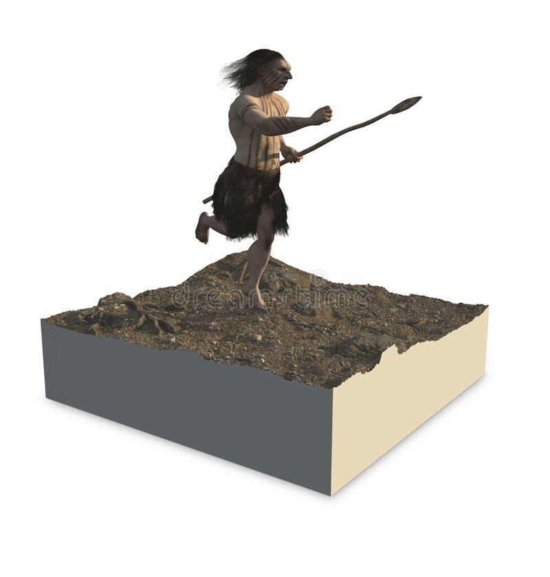 Neanderthaler Homo stock illustratie