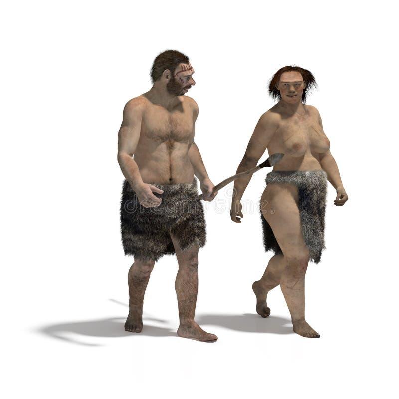 Neanderthaler man en vrouw royalty-vrije illustratie