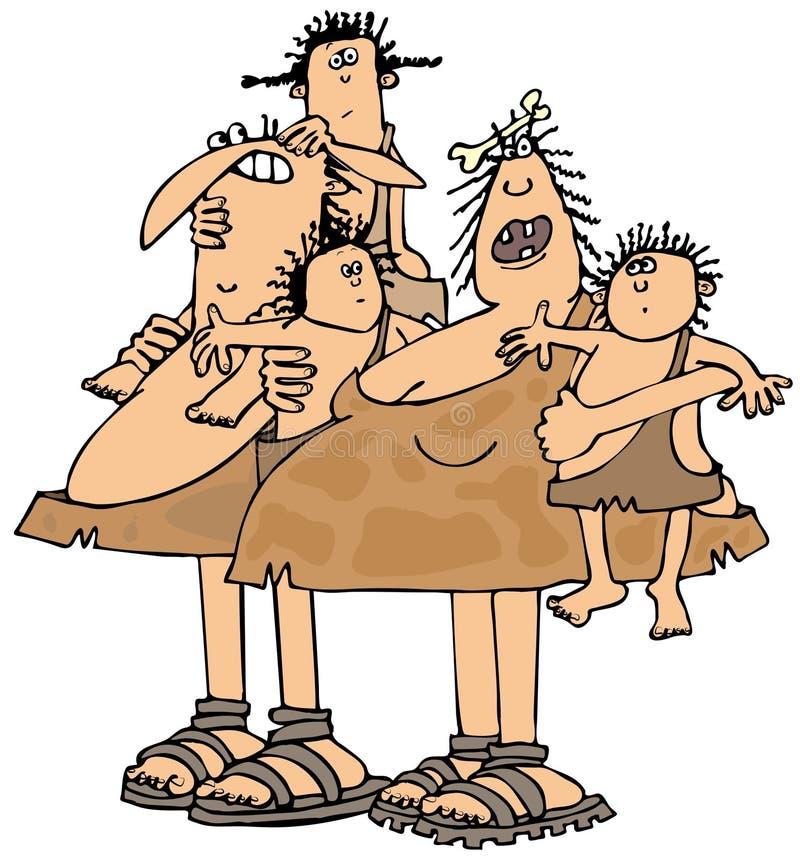 Neanderthalfamilie lizenzfreie abbildung