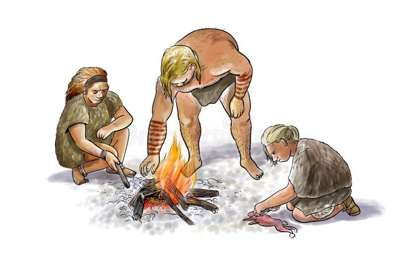 Neanderthalfamilj royaltyfri illustrationer