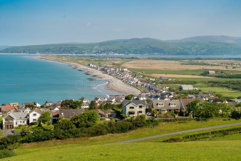 View towards Borth, Wales, UK. Near Aberystwyth, Ceredigion, Wales, UK - May 25, 2017 View over the Welsh coastline towards Borth royalty free stock images