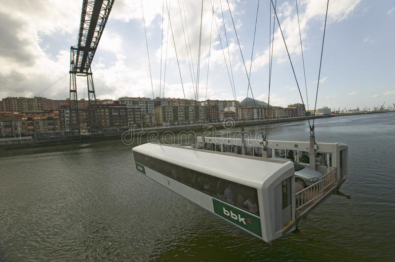 Near Bilbao, the Puente Colgante de Bizcaia, Biscay hanging or transporter bridge, connecting Portugalete on the left bank of the. River Ibaizabal/Nervi�n and royalty free stock images