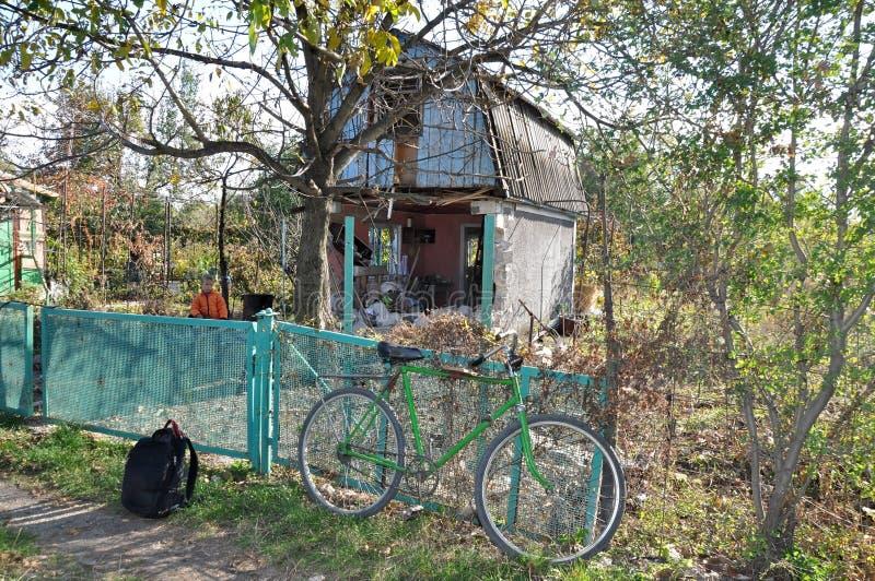 Near the bombed-out house. Ukraine stock image