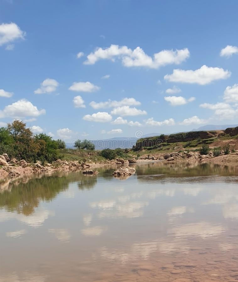 View of Wadi Darnah in morroco. Near the city of Beni Mellal in Morocco, a wonderful view in the valley of Darna, a little water flowing, filling this basin and royalty free stock image