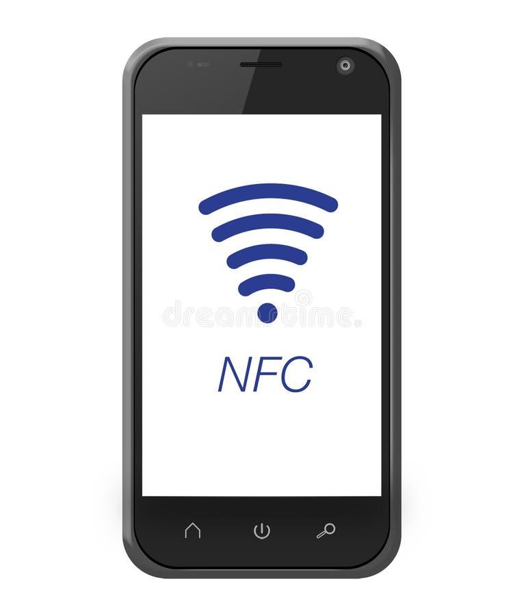 Near fältkommunikation för NFC på smartphonen royaltyfri illustrationer