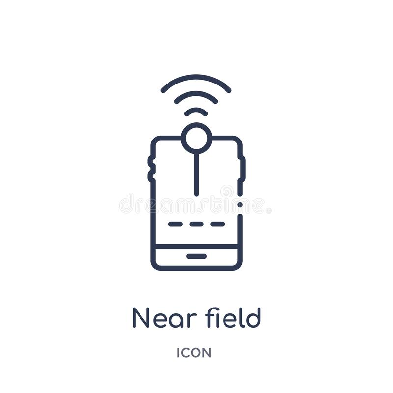near field communication icon from technology outline collection. Thin line near field communication icon isolated on white vector illustration