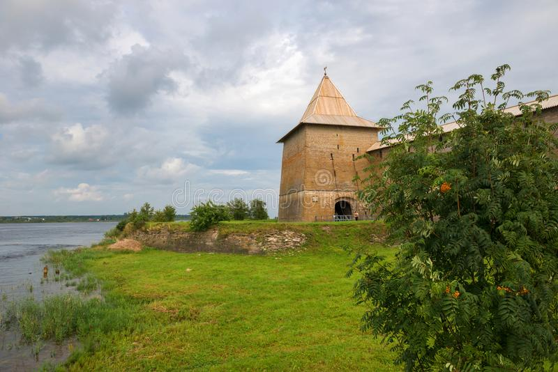 Near the fortress of Oreshek. Fortress in the source of the Neva River, Russia, Shlisselburg: Fortress Oreshek. Medieval Russian defensive structure and stock images