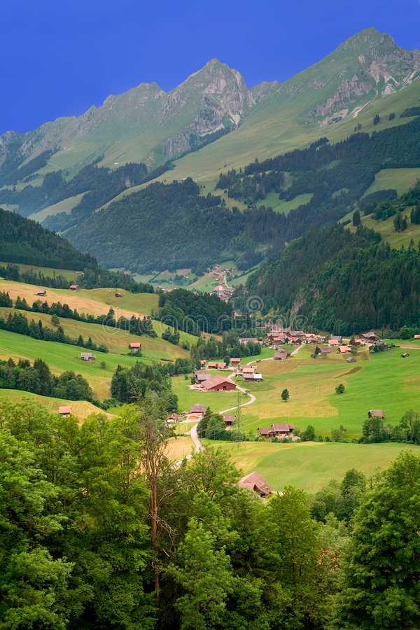 Near Gruyeres, Canton of Fribourg, Switzerland. Beautiful landscape near the town of Gruyeres in the canton of Fribourg, Switzerland royalty free stock photography