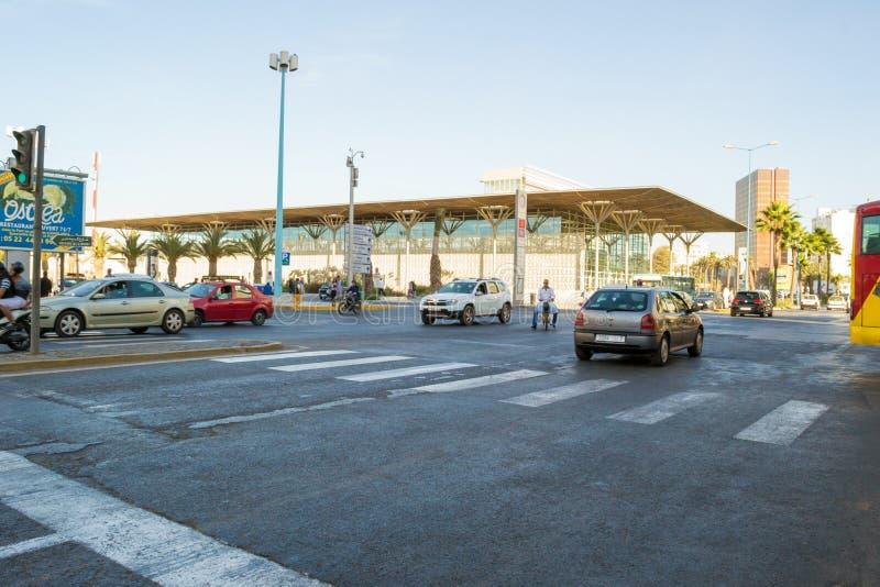 Near Harbor trainstation in Casablanca stock photos