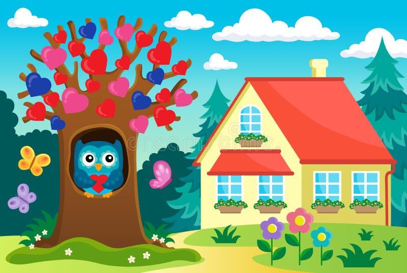 Near hus för valentinträd stock illustrationer