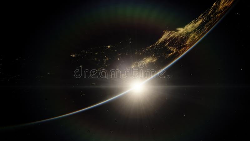 Near, low earth orbit blue planet. this image elements furnished by NASA royalty free stock images