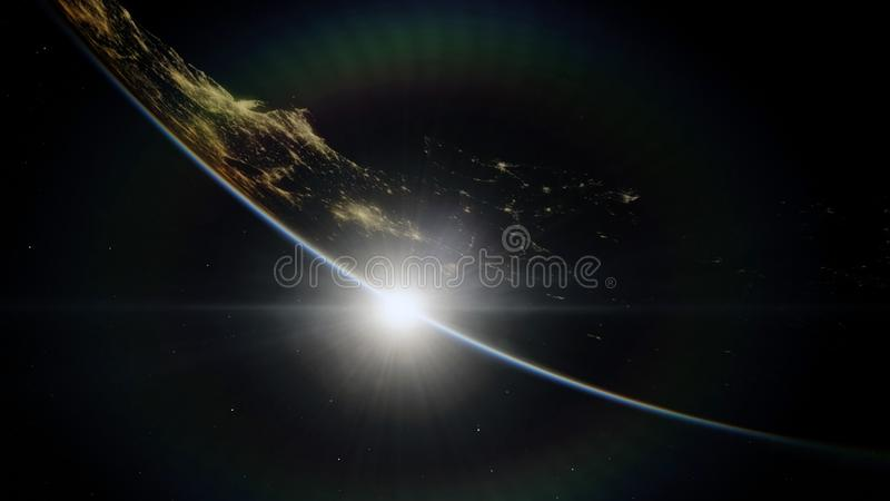 Near, low earth orbit blue planet. this image elements furnished by NASA.  stock illustration