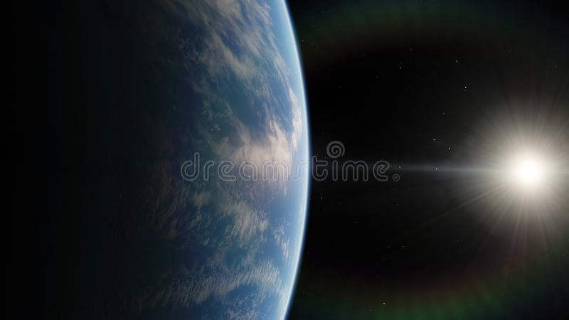 Near, low earth orbit blue planet. this image elements furnished by NASA.  royalty free illustration