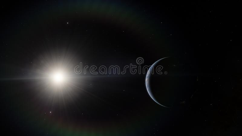 Near, low earth orbit blue planet. this image elements furnished by NASA stock photography