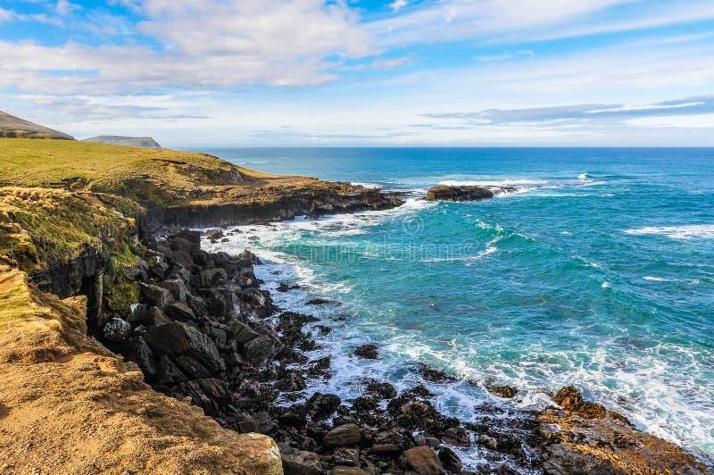Near lutningspunkt för kust- landskap, Nya Zeeland arkivbild