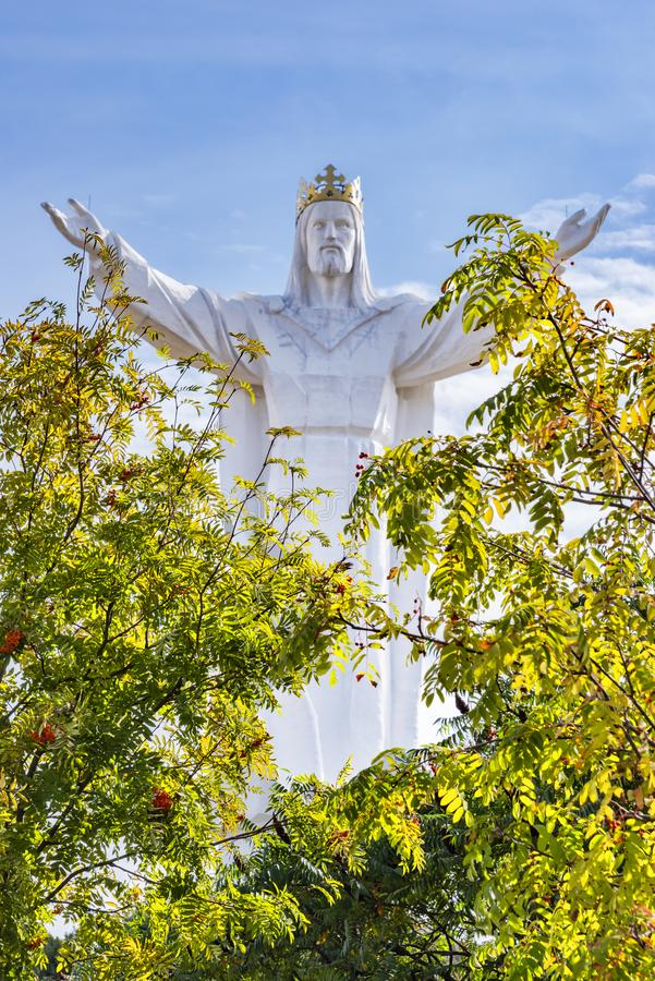 Near Poznan in Swiebodzin Poland September 11, 2018 View from the green treetops on the 33 meter high Jesus Christ figure, stock photo
