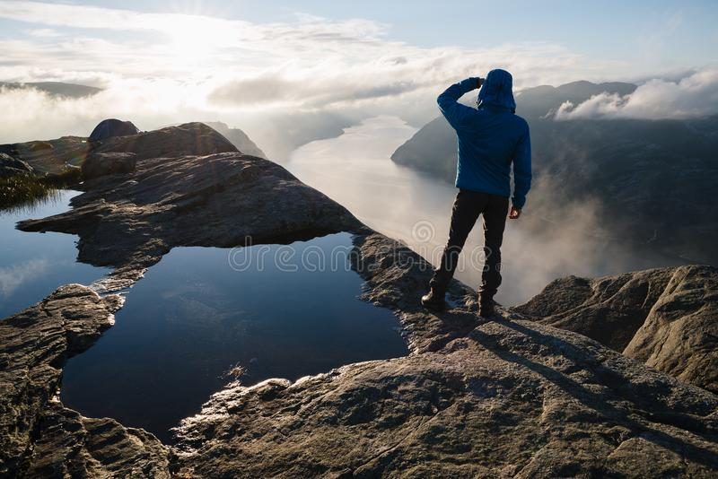 Panorama of Lysefjord, Norway stock photography