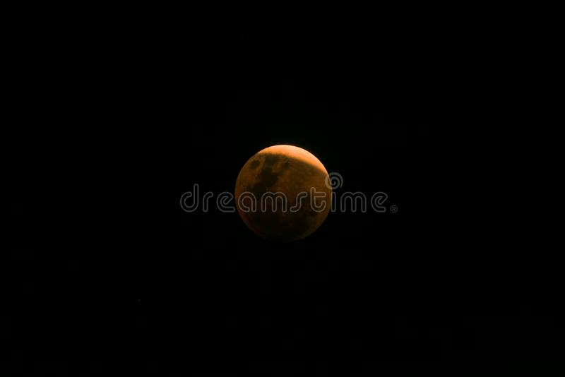 Near sammanlagd månförmörkelse för toppen måne för blått blod royaltyfri foto