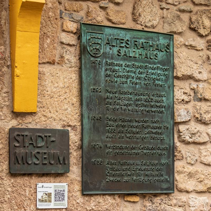 Sindelfingen, Baden Wurttemberg/Germany - May 11, 2019: Central Sign of Town Museum, Stadtmuseum, Altes Rathaus stock images