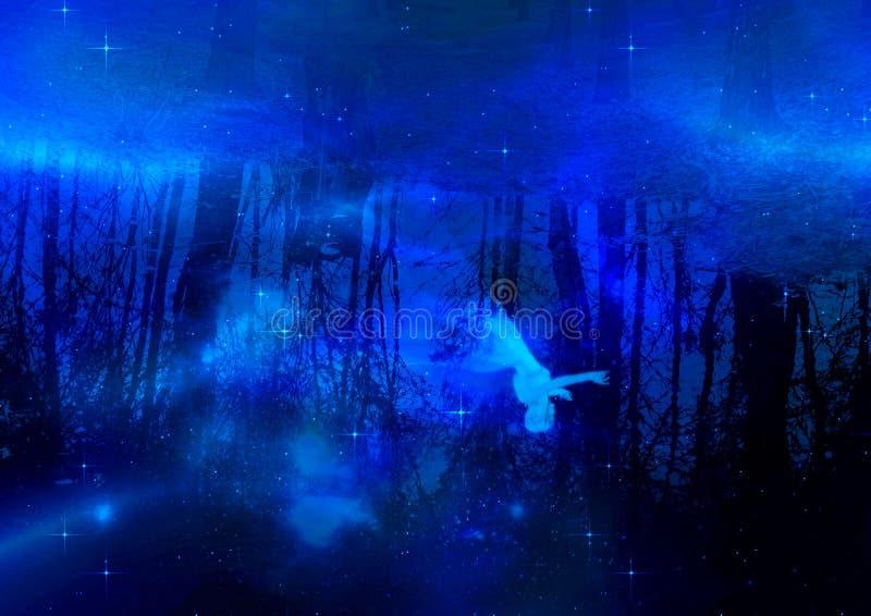 Near vatten för vit spöke vektor illustrationer
