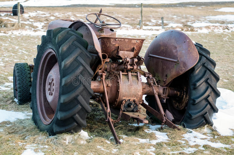 Near VIK/ICELAND - FEB 02 : Rusty Tractor Abandoned in Iceland o. N Feb 02, 2016 stock photography
