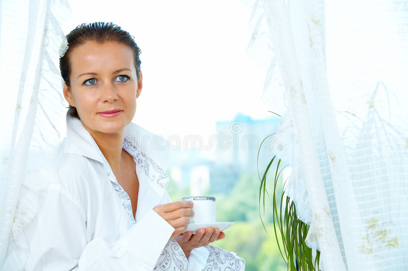 Download Near the window stock image. Image of model, leisure, breakfast - 5257667