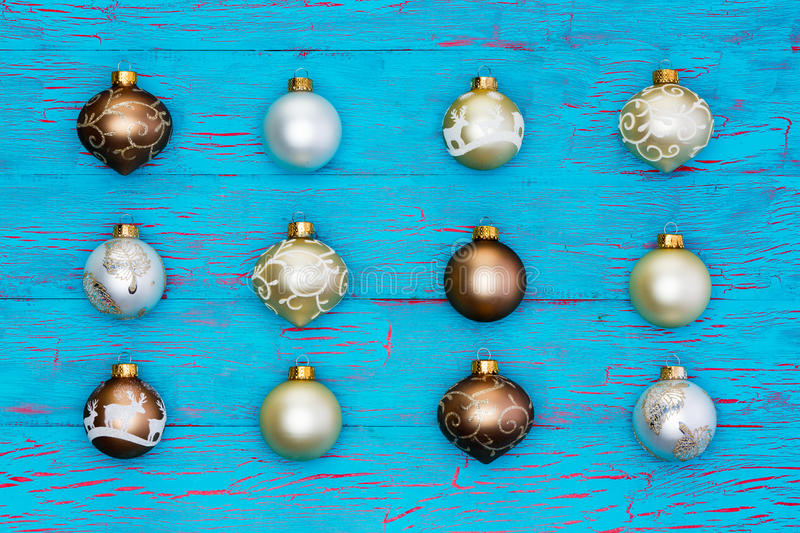 Download Neat Array Of Metallic Christmas Tree Ornaments Stock Photo - Image of lines, background: 79744410