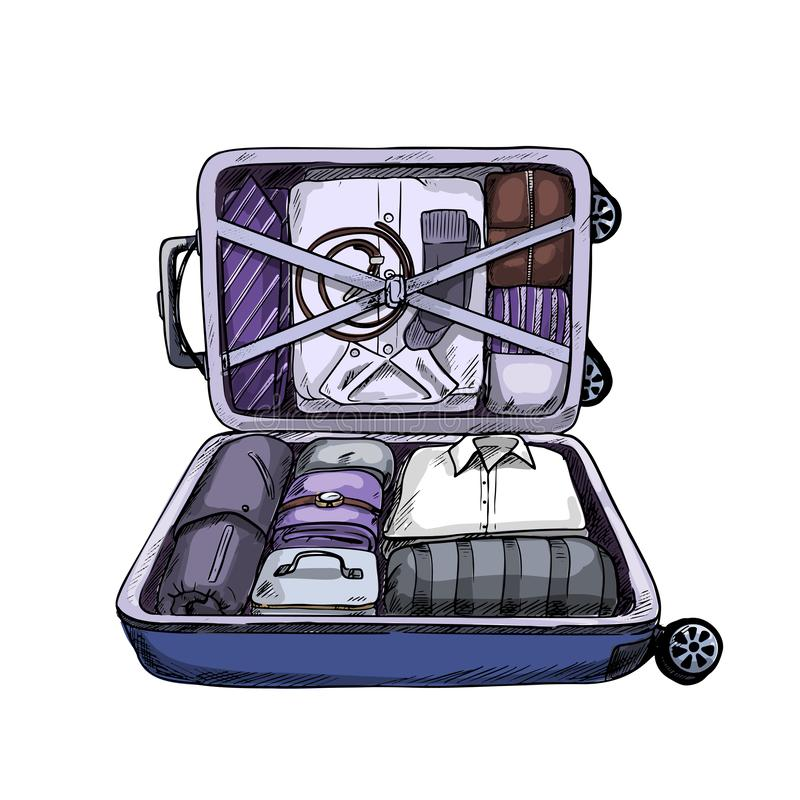 Neat opened business suitcase, ready to journey vector illustration