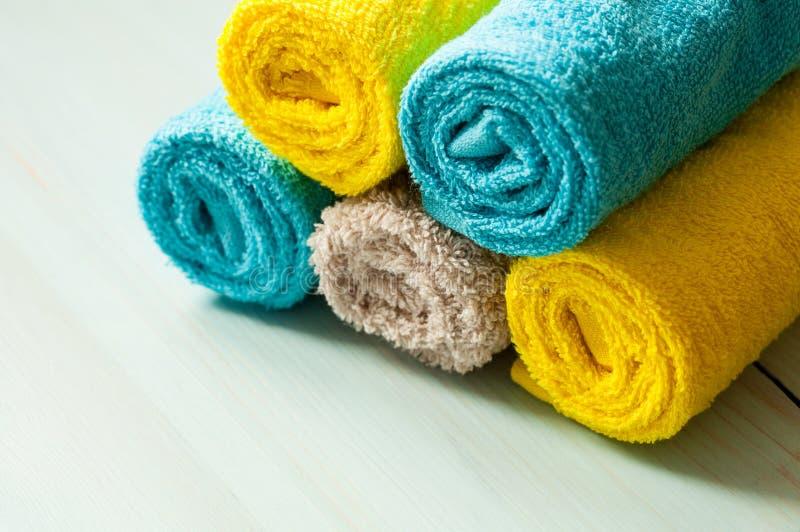 Neatly folded towels. Closeup shot stock image
