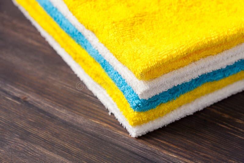 Neatly folded towels. Closeup shot stock photo