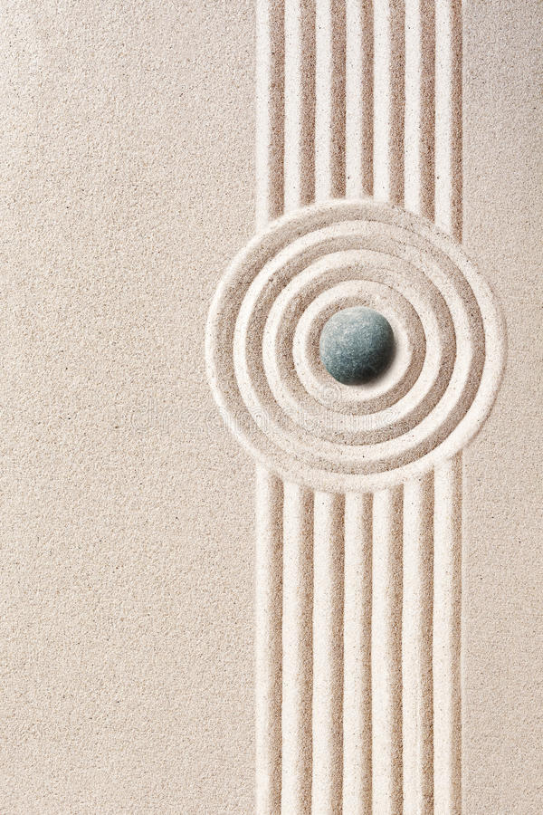 Neatly raked patterns in a Japanese Zen Garden stock images