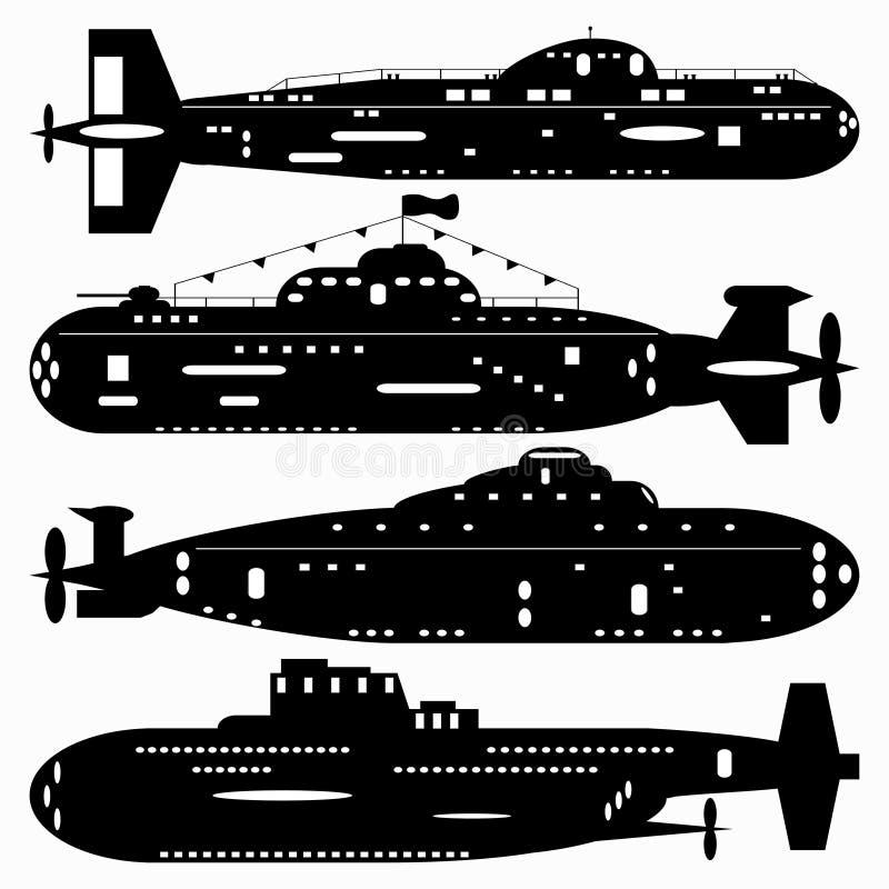 neatness Un conjunto de submarinos de los caminos Ilustración blanco y negro de un fondo blanco libre illustration