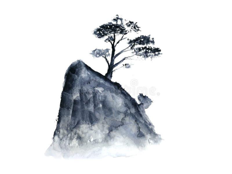 Nebbia cinese della montagna dell'albero del paesaggio dell'inchiostro Orientale tradizionale stile di arte dell'Asia Isolato su  illustrazione vettoriale