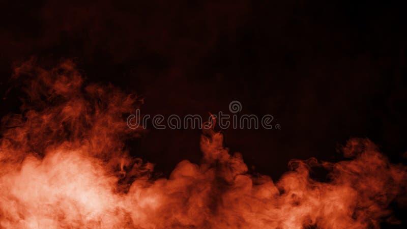 Nebbia del fumo del fuoco e sovrapposizioni nebbiose di struttura di effetto su fondo nero per copyspace fotografia stock libera da diritti