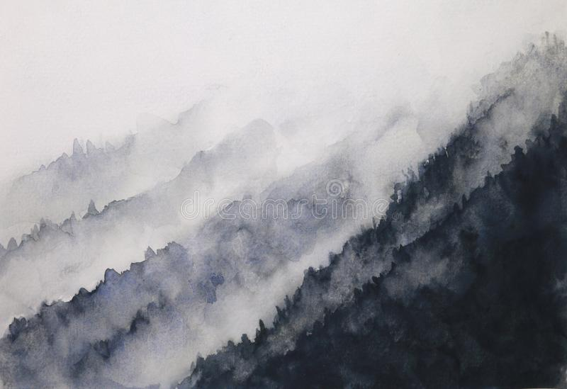 Nebbia della montagna del paesaggio dell'inchiostro dell'acquerello stile orientale tradizionale di arte dell'Asia dell'inchiostr illustrazione di stock