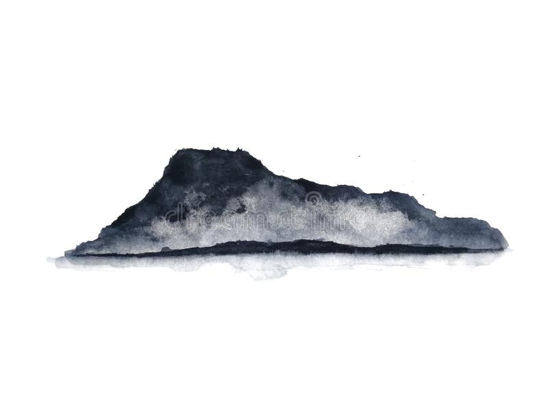 nebbia della montagna del paesaggio dell'inchiostro Orientale tradizionale stile di arte dell'Asia Isolato su una priorit? bassa  illustrazione vettoriale