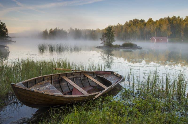 Nebbia di mattina sopra il lago fotografie stock libere da diritti
