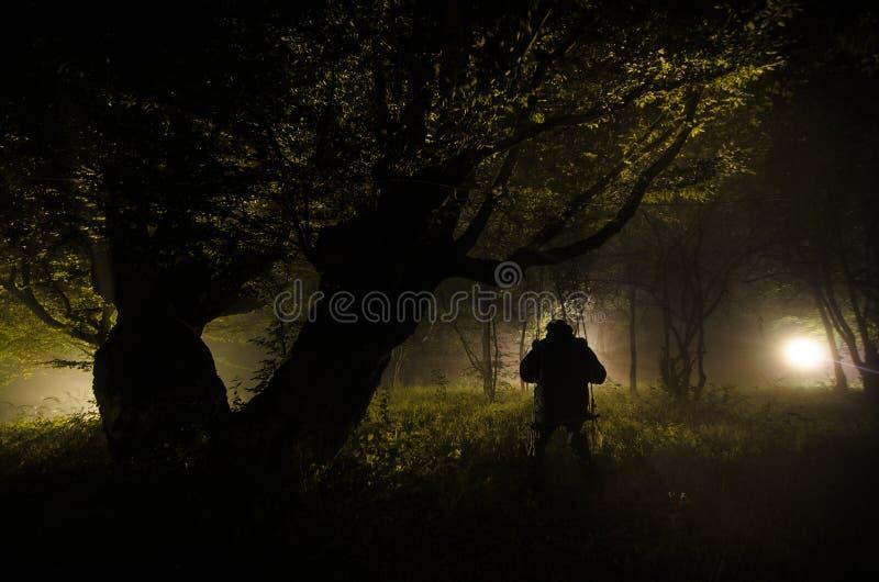 Nebbia di notte nel villaggio mysterious Accendere oscillazione vicino all'albero nell'iarda La luce dalla parte degli alberi Ni  fotografie stock libere da diritti
