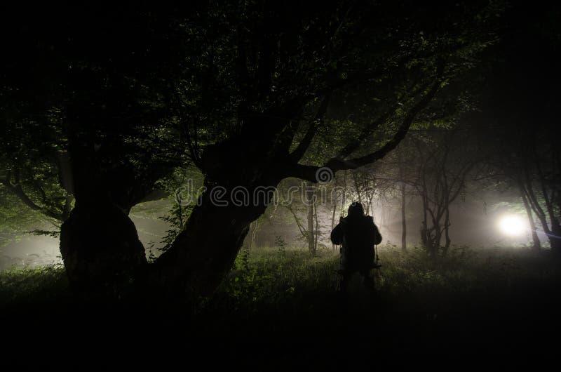 Nebbia di notte nel villaggio mysterious Accendere oscillazione vicino all'albero nell'iarda La luce dalla parte degli alberi Ni  fotografia stock