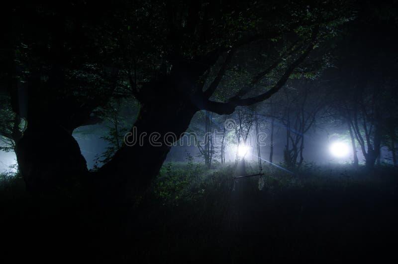 Nebbia di notte nel villaggio mysterious Luce della luna Accendere oscillazione vicino all'albero nell'iarda La luce dalla parte  fotografie stock libere da diritti