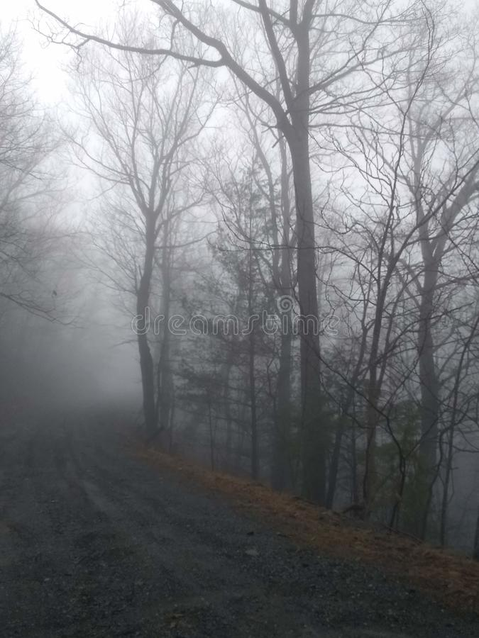 Nebbia difficile della montagna fotografia stock libera da diritti