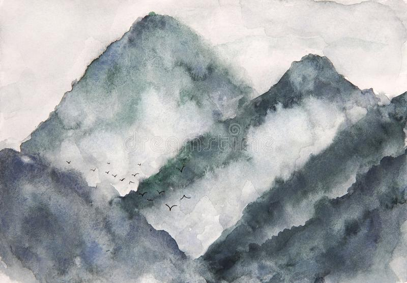 Nebbia ed uccelli della montagna del paesaggio dell'acquerello stile di arte dell'Asia illustrazione di stock
