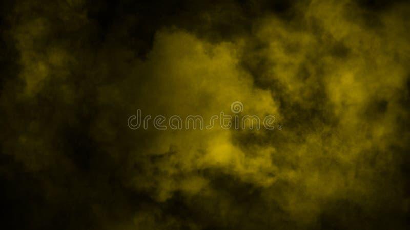 Nebbia gialla ed effetto nebbioso su fondo Sovrapposizioni del fumo illustrazione vettoriale