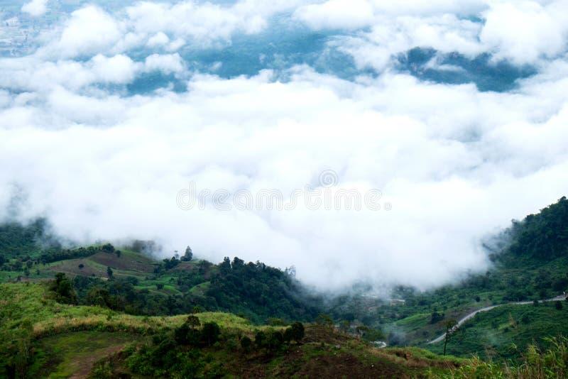 Nebbia nella scanalatura delle montagne immagini stock libere da diritti