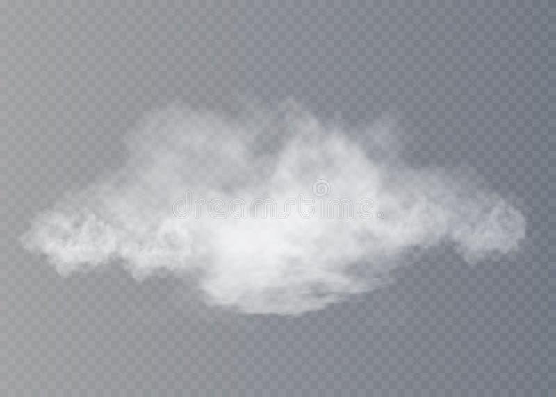 Nebbia o effetto speciale trasparente isolato fumo Fondo bianco di opacità, della foschia o dello smog royalty illustrazione gratis