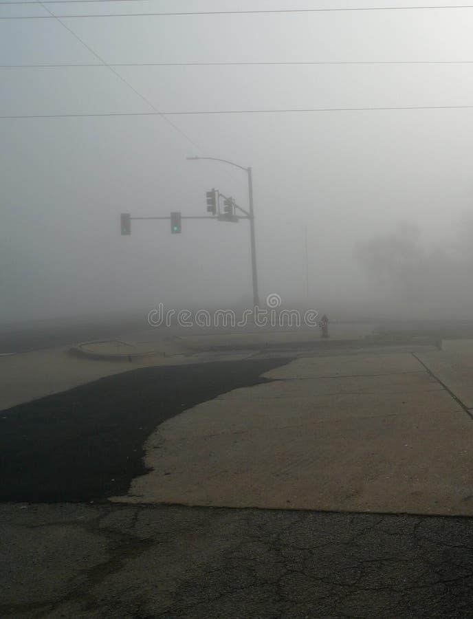 Nebbia pesante e semafori con le strade rattoppate, immagine verticale fotografia stock