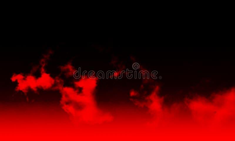 Nebbia rossa astratta della foschia del fumo su un fondo nero illustrazione di stock