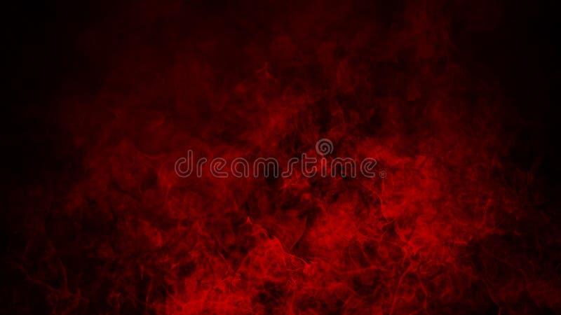 Nebbia rossa o fumare effetto speciale isolato sul pavimento fondo rosso di opacit?, della foschia o dello smog immagini stock libere da diritti