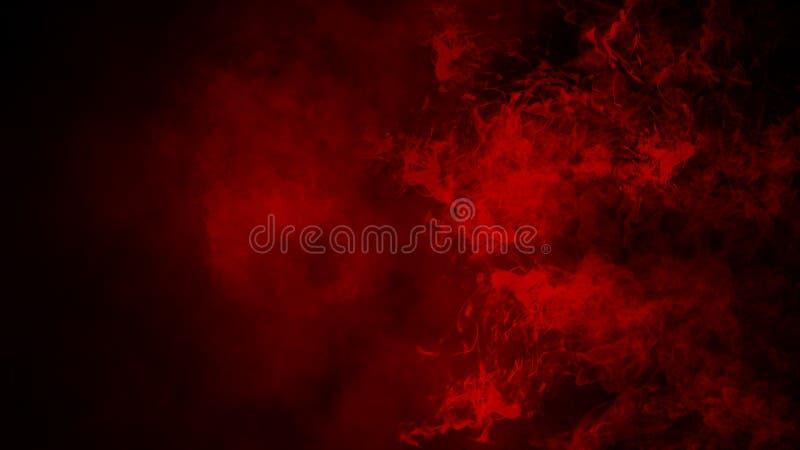 Nebbia rossa o fumare effetto speciale isolato sul pavimento fondo rosso di opacit?, della foschia o dello smog immagine stock libera da diritti